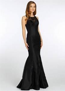 Top Prom Dress Designers Mermaid Style Satin Long Black Bridesmaid Dress Satin