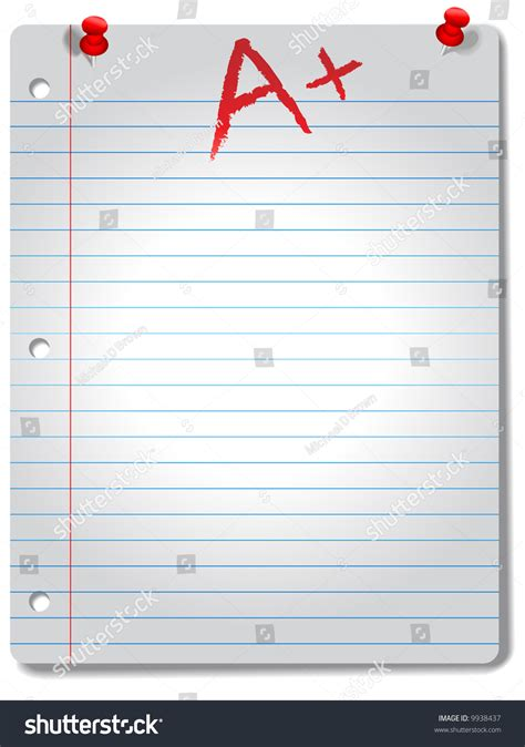 page wide ruled notebook paper red stock vector  shutterstock
