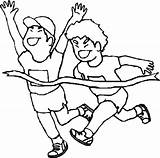 Running Race Coloring Pages Drawing Run Children Boy Kid Clip Getcoloringpages Person sketch template