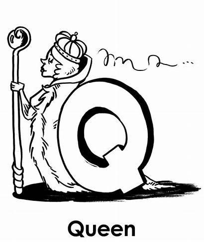 Coloring Queen Pages Alphabet Printable Clipart Children