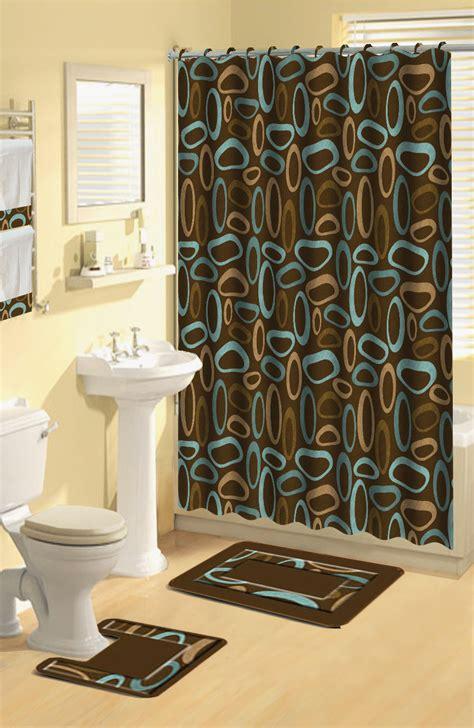Modern Bathroom Rugs And Towels by Modern Geometric Brown Oval Rings 17 Pc Bath Rug Shower