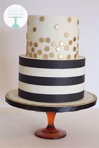 Black and white striped birthday cake. Metallic gold polka ...