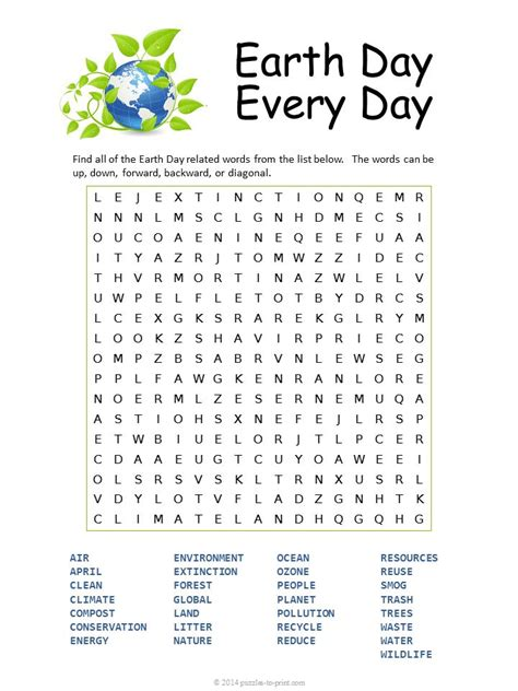 printable earth day word search word puzzles earth