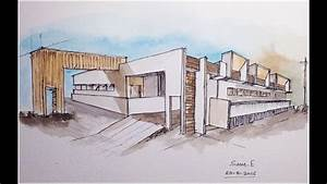 Architecture Modern Building Design  Freehand Drawing  2