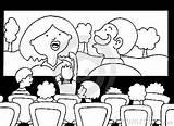 Movie Cinema Coloring Bad Watching Experience Drawings 291px 14kb sketch template