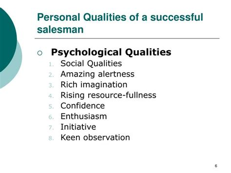 Personal Qualities For by Ppt Sales Distribution Management 2005 Martin Khan Powerpoint Presentation Id 6849787