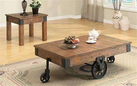 Cottage Rustic Distressed Brown Wagon Accent End Table Or