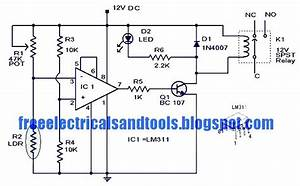Free Schematic Diagram  Light Activated Switch Circuit Using Lm311