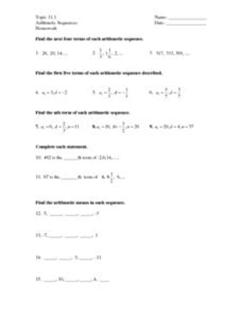 arithmetic sequence worksheets 8th grade real world math