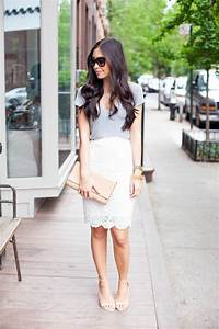 Day to night outfit: White lace pencil skirt and grey shirt.