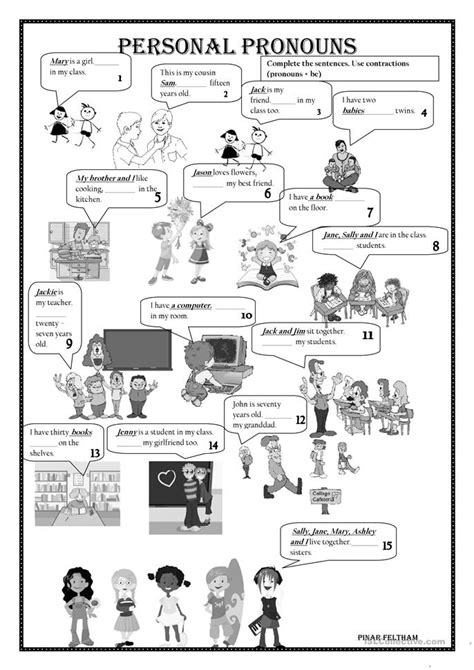 personal pronouns worksheet  esl printable