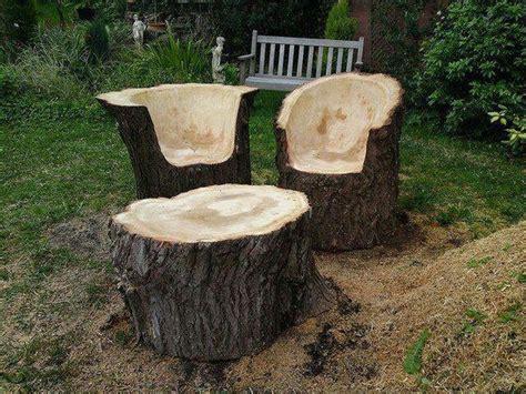 log table and chairs fab art diy log home garden decor ideas