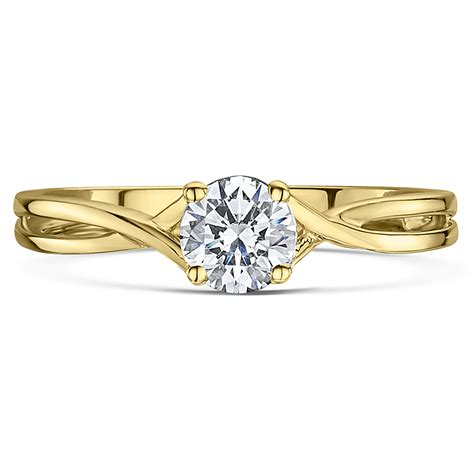 9ct yellow gold quarter carat twist solitaire engagement ring yellow gold rings at