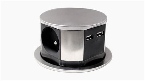 bloc escamotable compact inox 3 prises 2 chargeurs usb diamètre 100mm otio