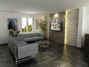decoration salon mur en pierre living room pinterest With good idee couleur peinture couloir 6 photo salon et platre deco photo deco fr