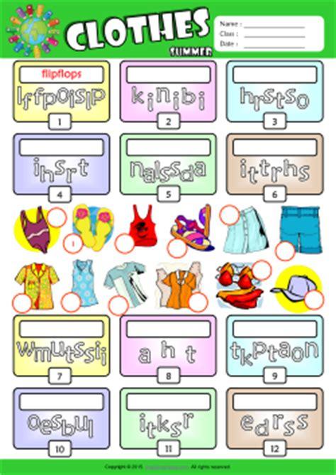 summer clothes esl printable worksheets  kids