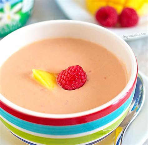 mango raspberry chilled soup blender recipe  yummi