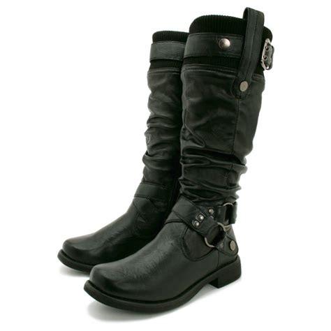 womens black biker buckle wide calf flat knee high boots