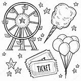 Carnival Amusement Sketch Wheel Balloons Vector Objects Ferris Doodle Ticket Includes Candy Cotton Equipment Format Lhfgraphics Illustration Depositphotos sketch template