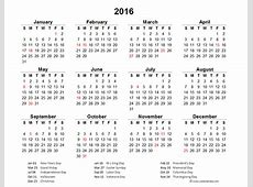 2016 Excel Yearly Calendar 02 Free Printable Templates