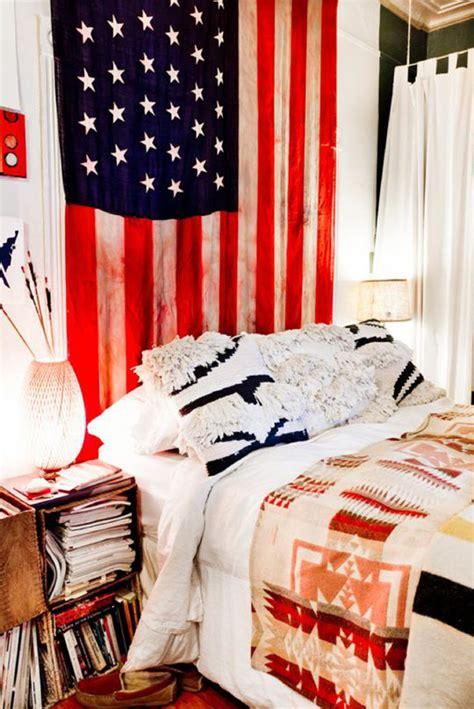 college dorm room  american flag display home design