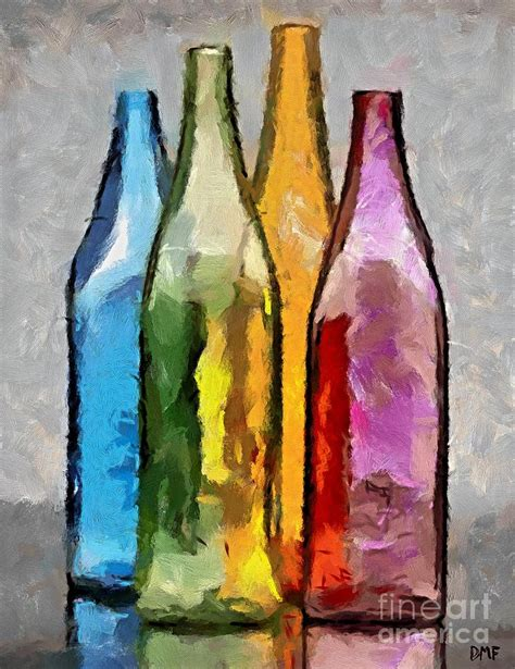 colored glass bottles painting by dragica micki fortuna