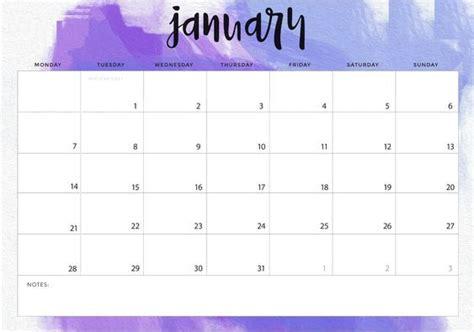 january calendar landscape printable calendar calendar