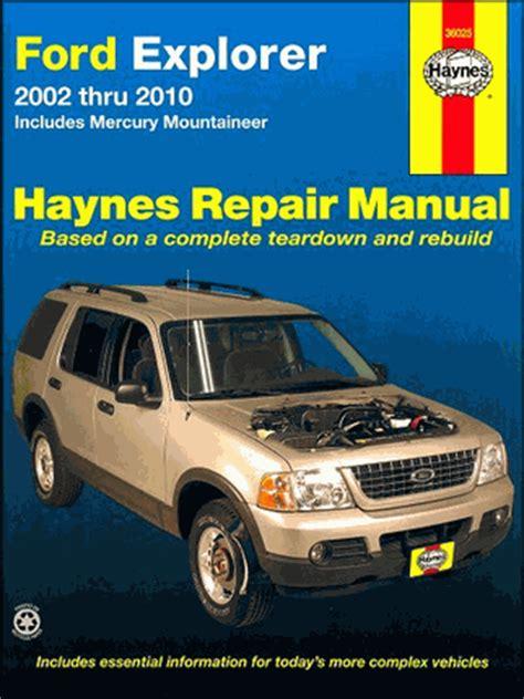 old car repair manuals 2002 mercury mountaineer transmission control ford explorer mercury mountaineer repair manual 2002 2010 haynes