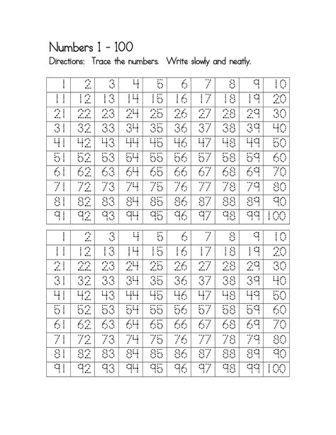 number worksheets 1 100 printable activity shelter