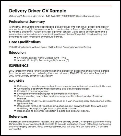 Delivery Driver Duties Resume by Delivery Driver Cv Sle Myperfectcv