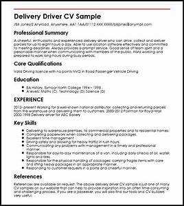 Delivery driver cv sample myperfectcv for Drivers cv template