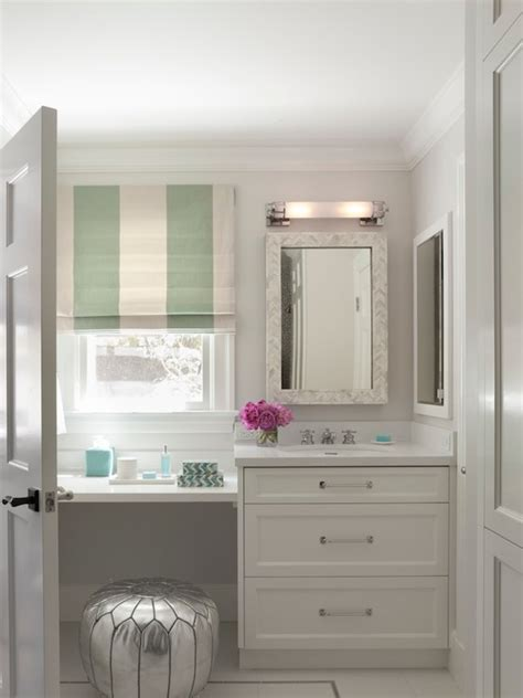Sink Vanity With Dressing Table by Built In Makeup Vanity Transitional Bathroom Jan