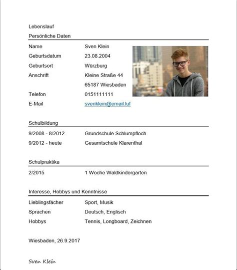 Lebenslauf Schülerpraktikum Muster by Lebenslauf F 252 R Das Sch 252 Lerpraktikum Muster F 252 R Korrekten