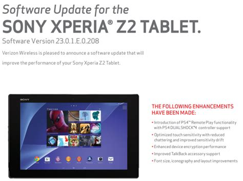verizon xperia z2 tablet update adds ps4 remote play xperia
