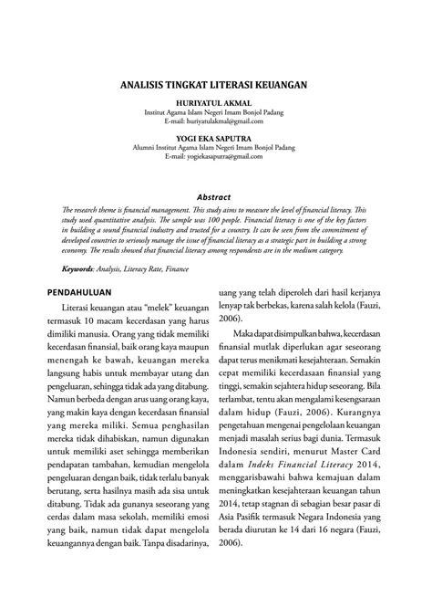 ANALISIS TINGKAT LITERASI KEUANGAN by JEBI (JURNAL EKONOMI