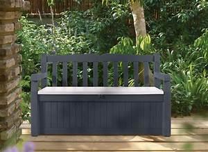 Coffre De Terrasse : banc de jardin avec coffre rangement gris anthracite jardideco ~ Melissatoandfro.com Idées de Décoration
