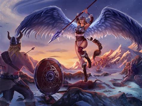 viking  girl fantasy angel warrior battle art artwork