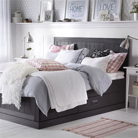 neutral bedroom  dark bedframe ikea remodel bedroom bedroom design master bedroom remodel