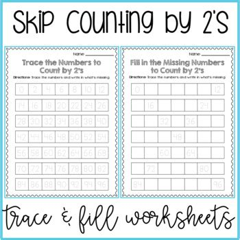 skip counting by 2s worksheets differentiated