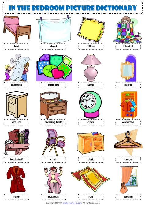 kitchen furnitures list vocabulary in the bedroom vocabulary