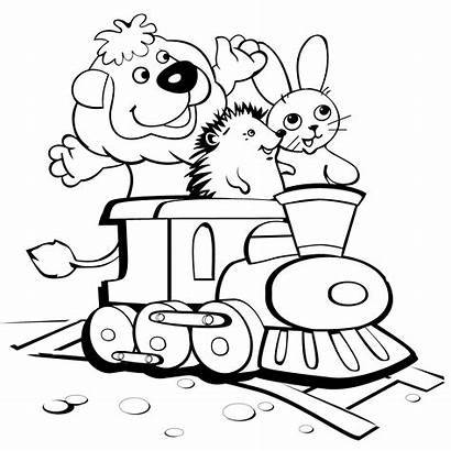 Coloring Funny Pages Printable Trains Animals Igel