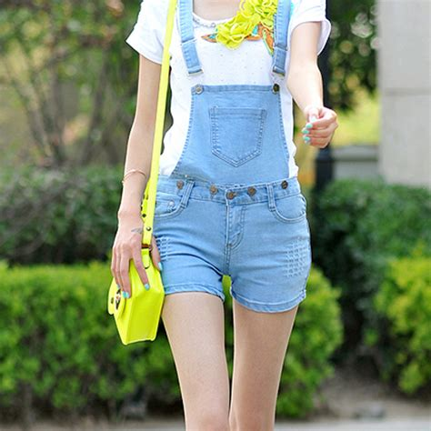 Suspender Denim Shorts summer bib denim suspenders shorts plus