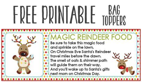 magic reindeer food recipe  printable treat bag toppers