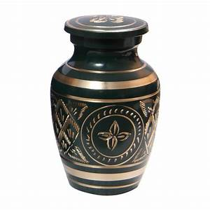 Gold Detailing Forest Green Small Keepsake Urn for