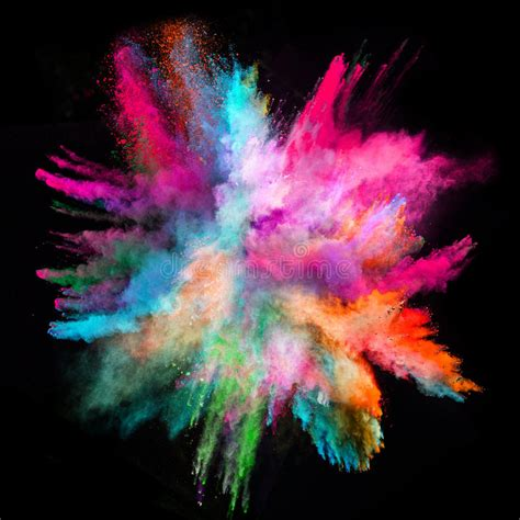 launched colorful powder  black background stock image