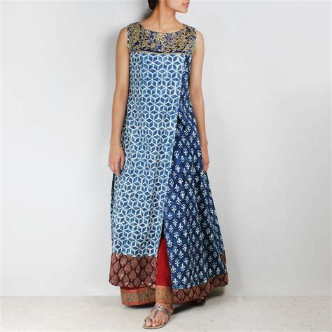 blue overlapping organic cotton long kurta  palanquine