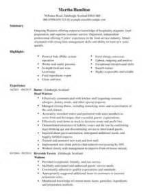 waitress resume sle in word waitress cv exle for restaurant bar livecareer