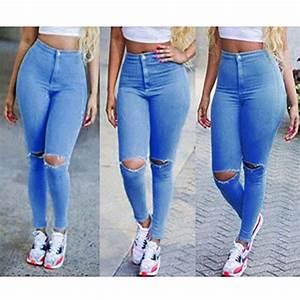 Jean Bleu Troué Femme : jeans a trou femme blanc jean femme grande taille a trou bleu pantalon en jeans a trou femme slim e ~ Melissatoandfro.com Idées de Décoration