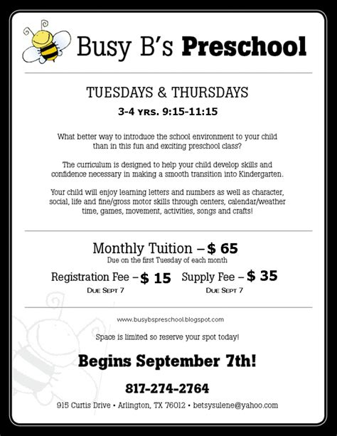 busy b s preschool classes offered and tuition fees 970 | flyer