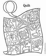 Coloring Alphabet Quilt sketch template